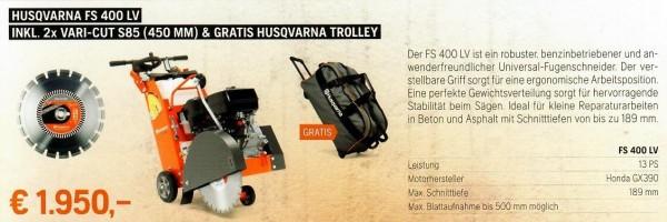 Fugenschneider FS 400 LV + 2x VARI-CUT (450 mm) & gratis Trolley