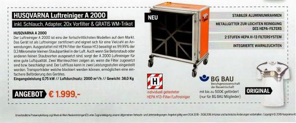 Husqvarna Luftreiniger A 2000