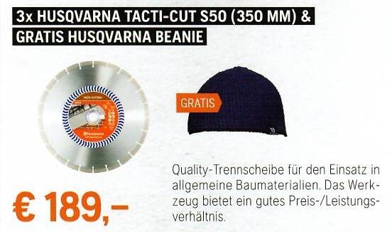 3x Husqvarna Tacti-Cut S50 (350 mm) & gratis Hus. Beanie