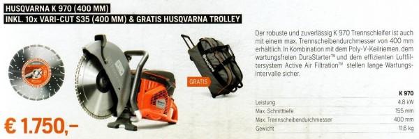Trennschleifer K 970 (400 mm) + 10x VARI-CUT & gratis Trolley